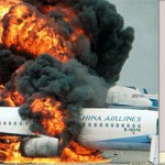 burning plane and man running to bathroom